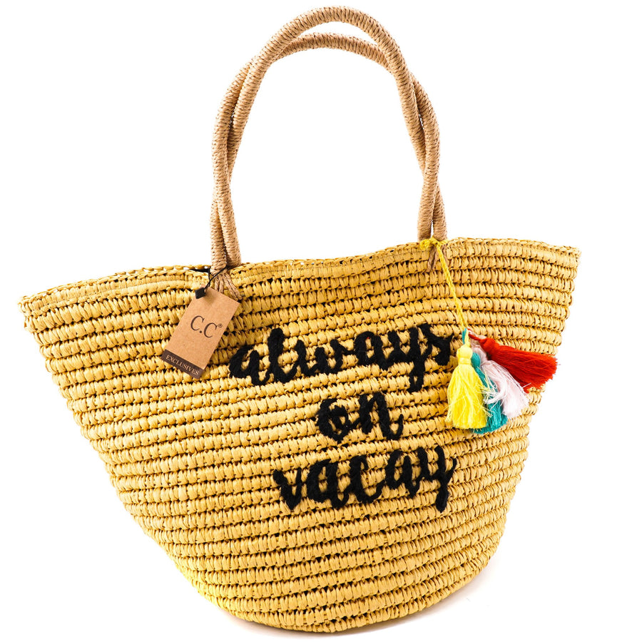 """Always On Vacay"" Embroidered Beach Tote"