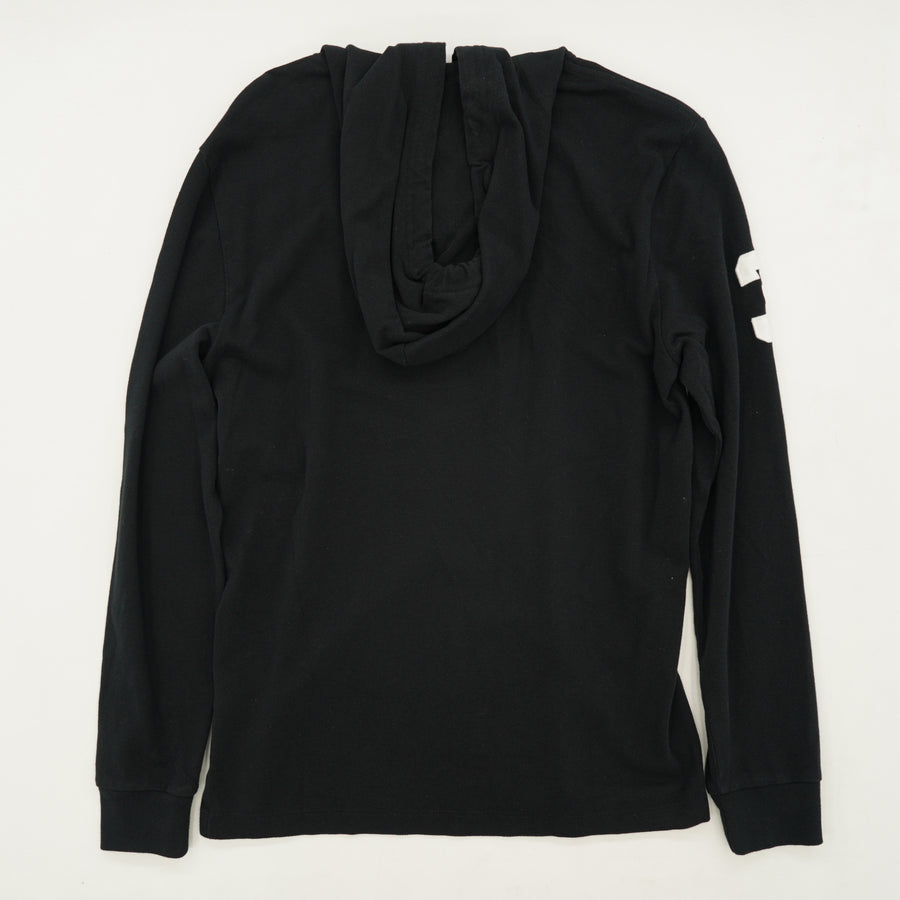 Black Two Button Hoodie Size S