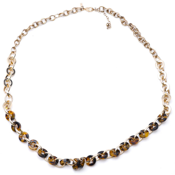Gold Toned And Tortoise Shell Beaded Necklace