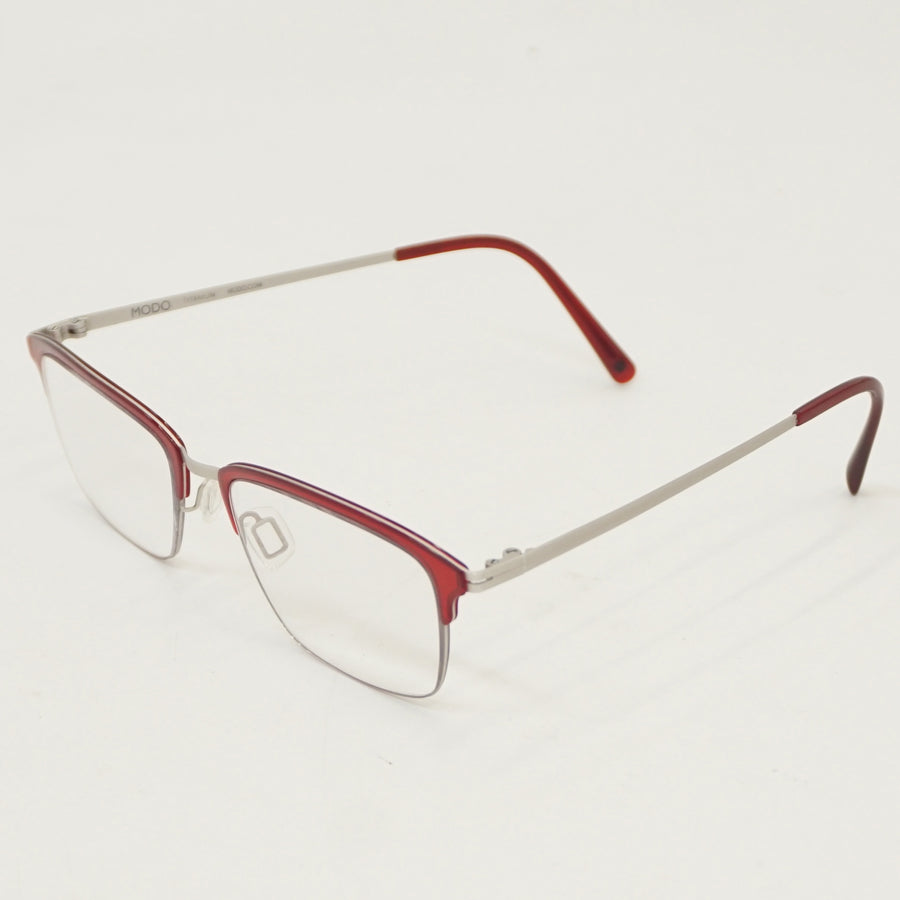 Burgundy Half-Rim Prescription Eyeglasses