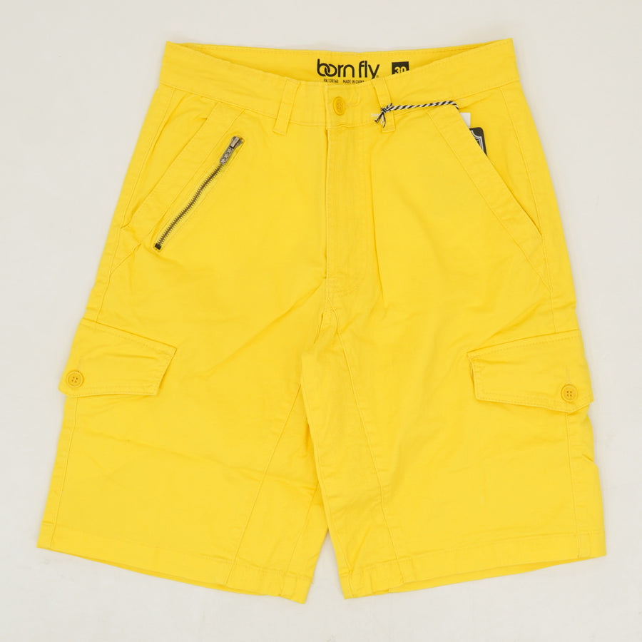 Yellow Twill Cargo Shorts - Size 30, 32, 36