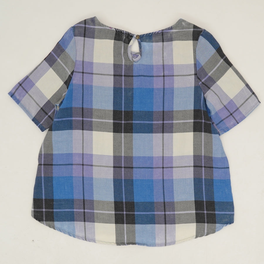 Plaid Key Hole Back Blouse - Size XL