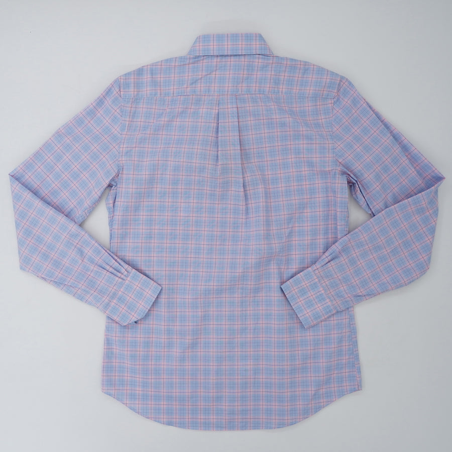 Long Sleeve Sport Shirt Blue & Pink Plaid Size M