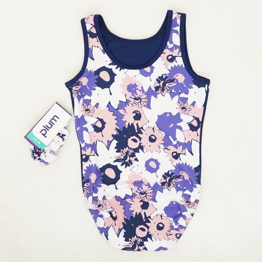 Floral Adult Leotard And Scrunchie Size M