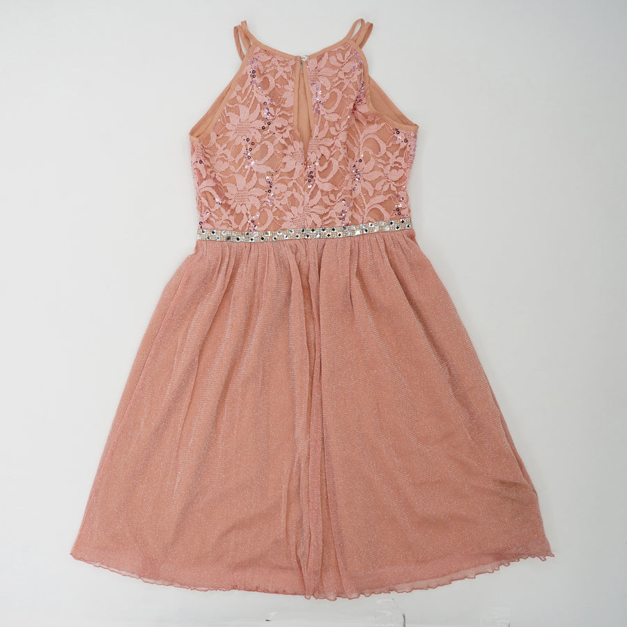 Embroided Tulle Dress With Sequin Belt Size 12