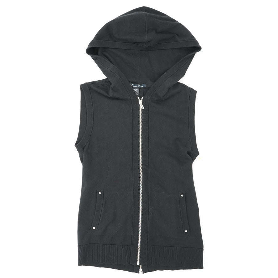 Hooded Black Vest With Front And Back Zipper Size XXS