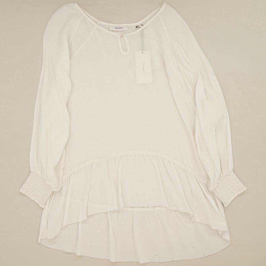 White Long Sleeve Flowy Blouse Size 4