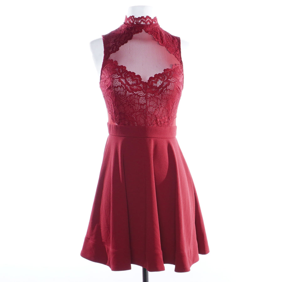 Burgundy Lace Mini Dress - Size M