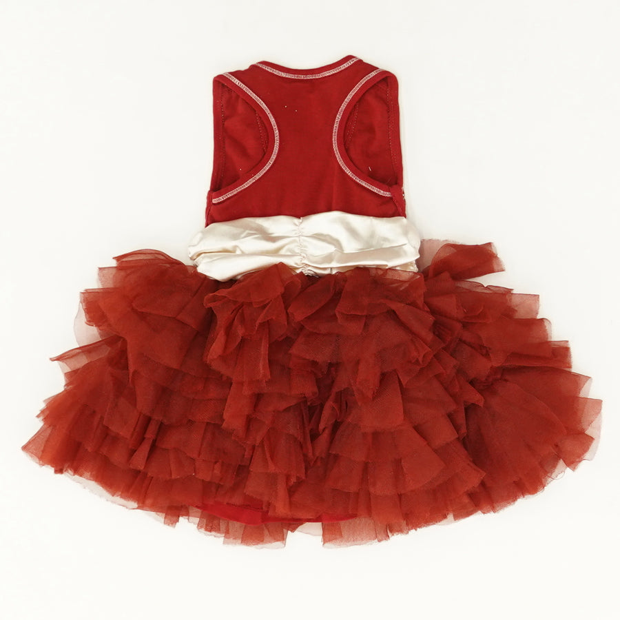 Red And Gold Tulle Dress - Size 18M