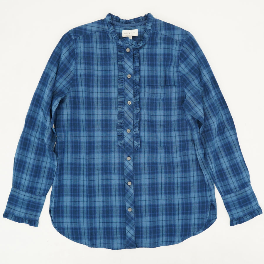 Plaid Button Down with Ruffled Detail - Size S