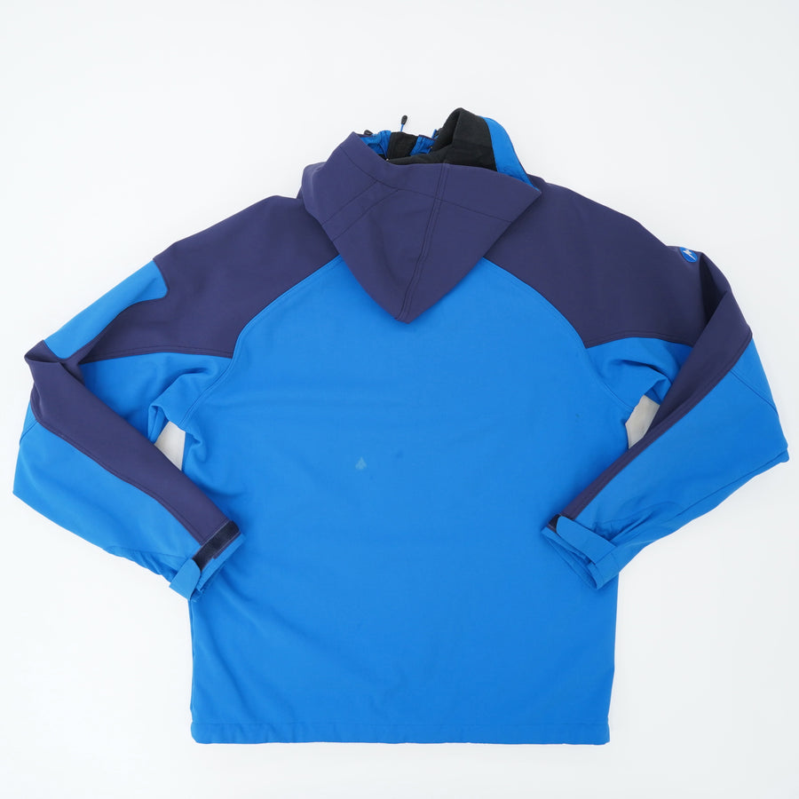 Blue Two Toned Rain Proof Jacket With Hood Size L