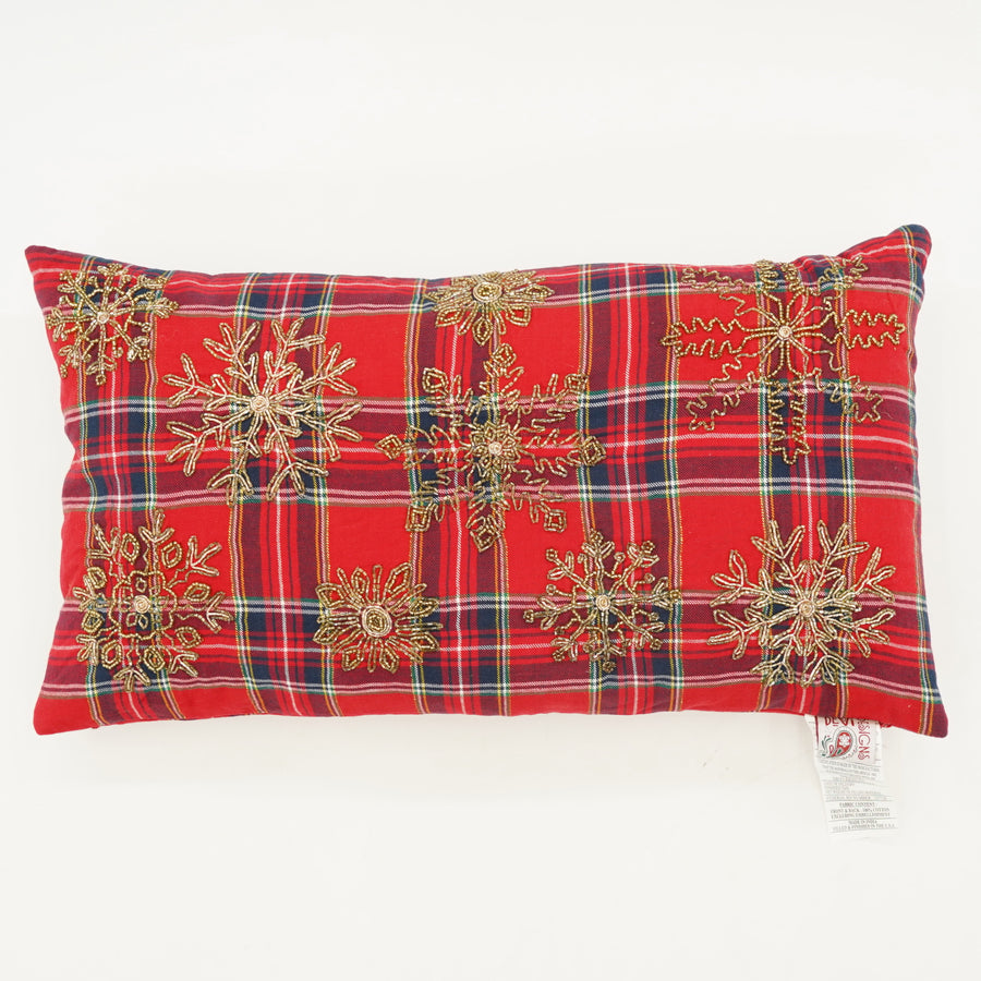 Beaded Snowflake Flannel Pillow