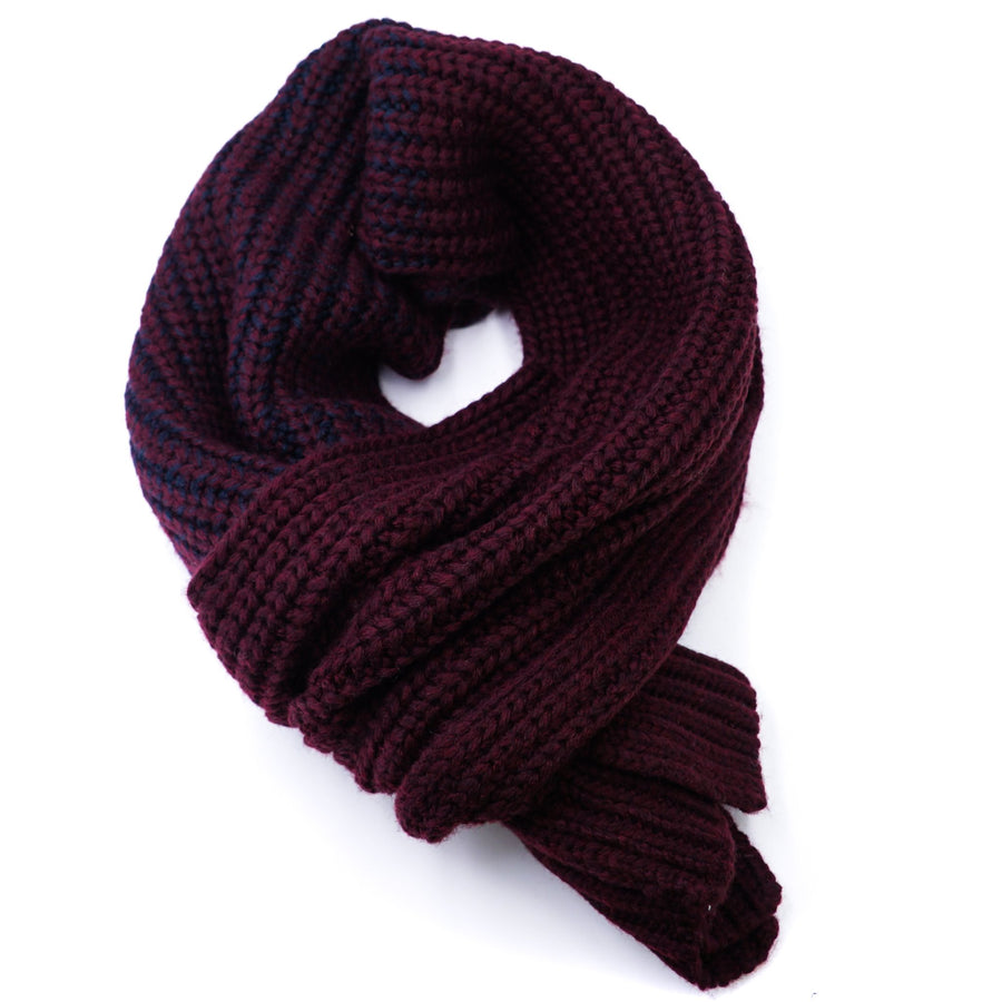 Burgundy and Navy Knit Scarf