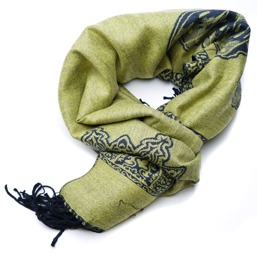 Reversible Navy & Green Butterfly Scarf