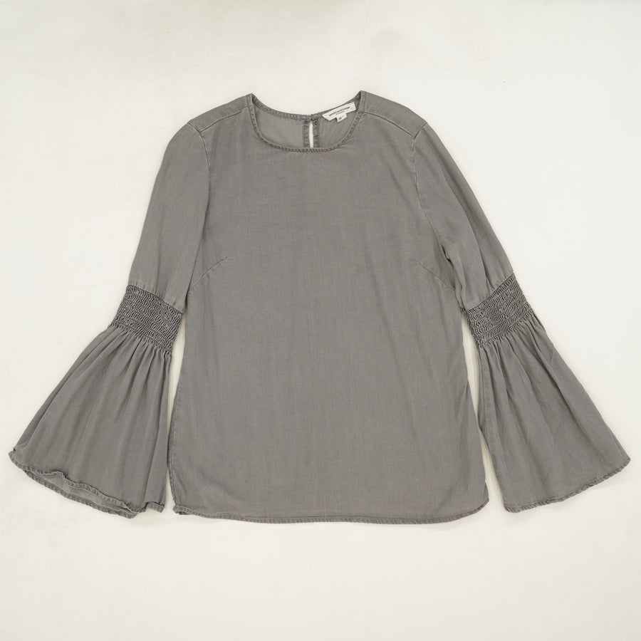 Grey Bell Sleeve Blouse Size XS