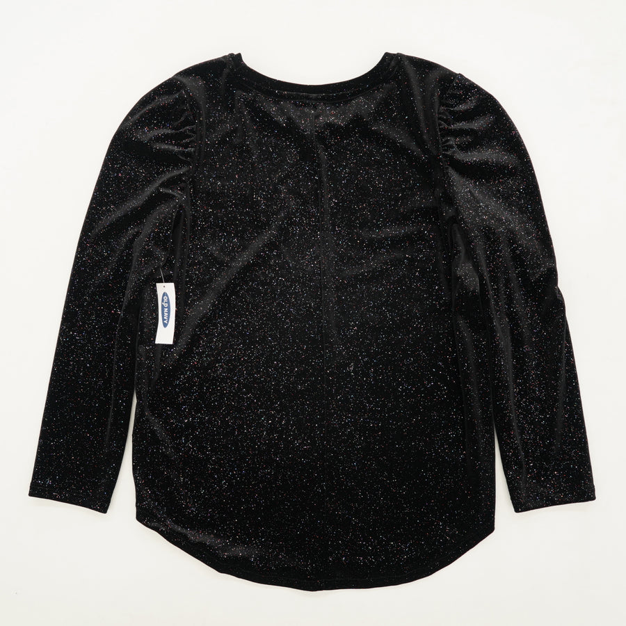 Black Glitter Long Sleeve Blouse Size 14