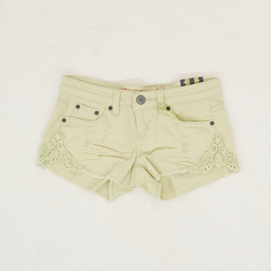 Distressed Crochet Detail Shorty Shorts - Size 0