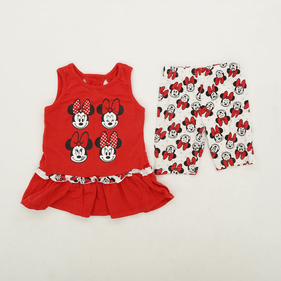 Fit and Flare Ruffle Trimmed Minnie Mouse Set Size 4