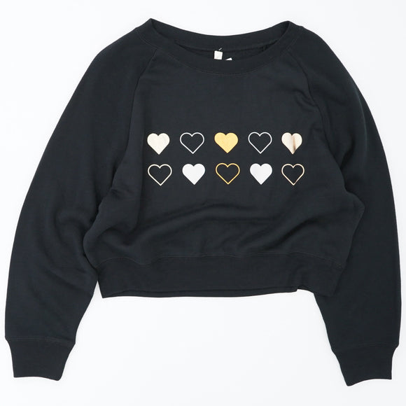 Silver And Gold Heart Cropped Sleep Shirt Size L
