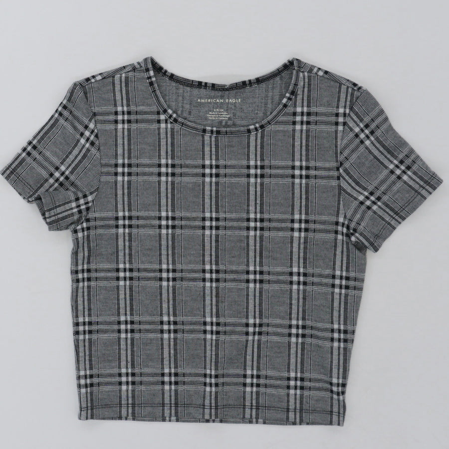 Short Sleeve Plaid Crop Top Size S