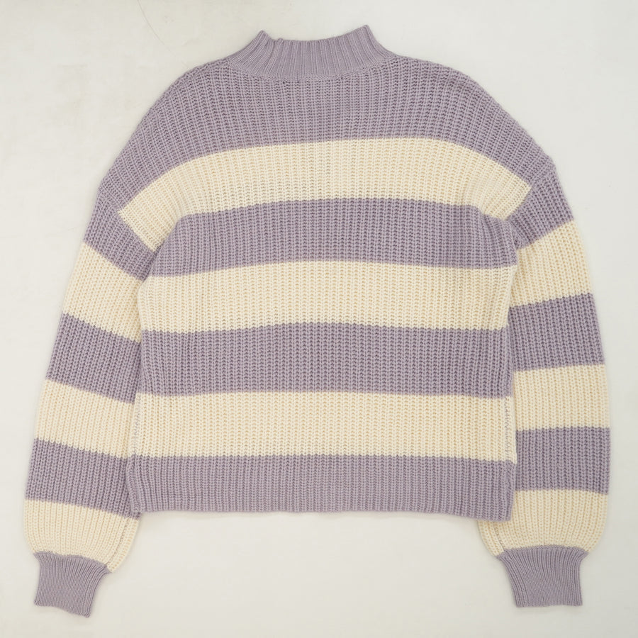 Colorblock Striped Mock Neck Sweater Size M