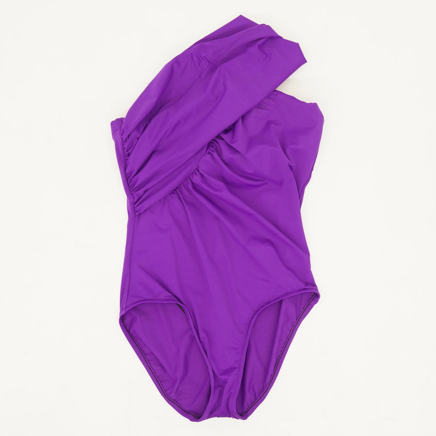 Purple Solid One-Shoulder Shirred One-Piece - Size 8