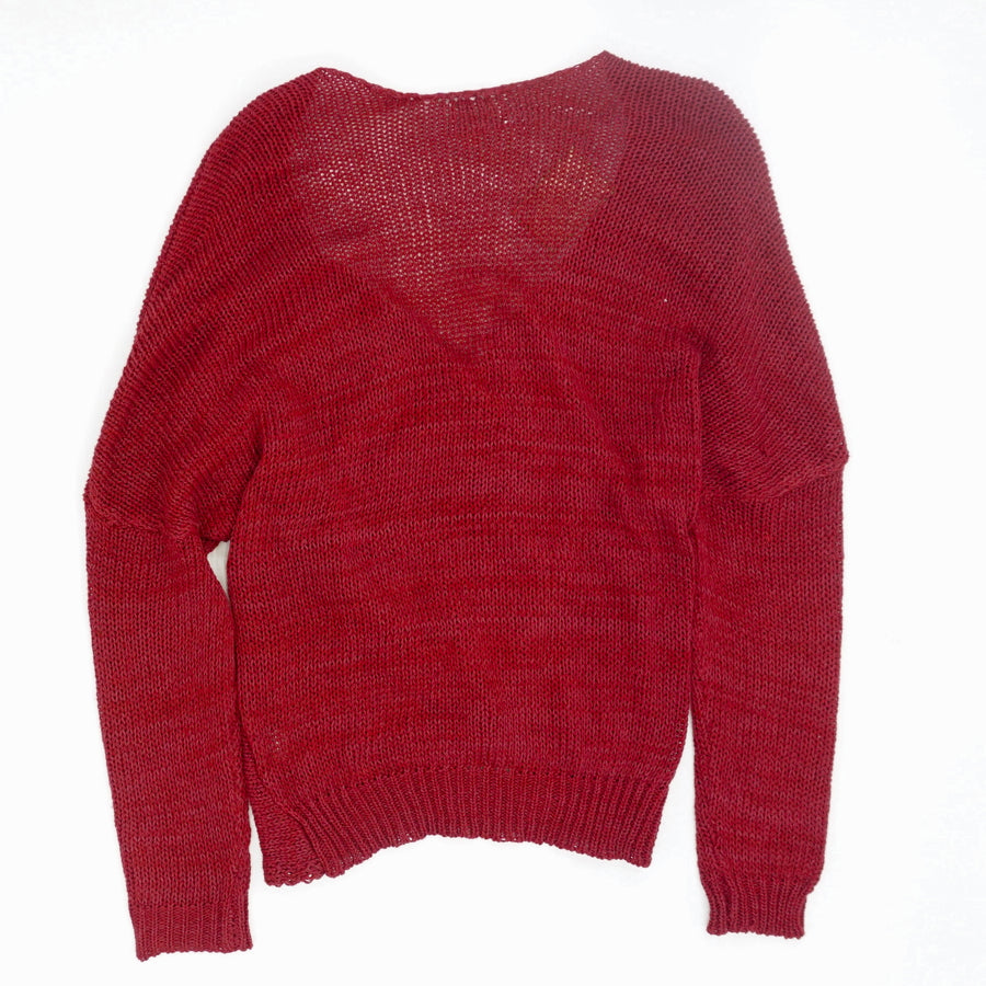 Burgundy Cross Wrap V-Neck Sweater - Size S