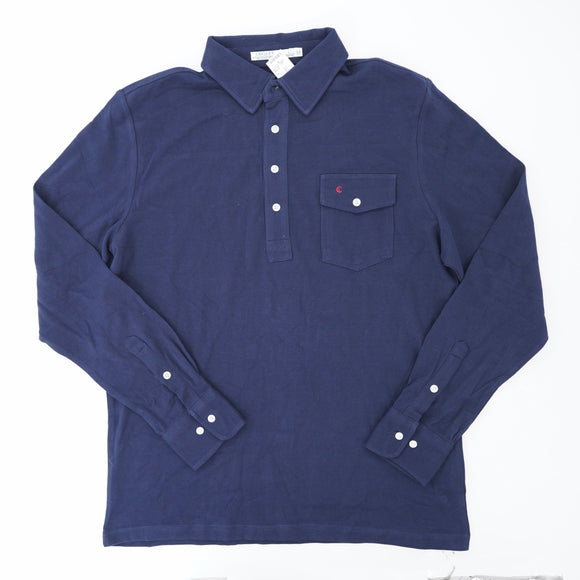 Navy Long Sleeve Polo Shirt Size L