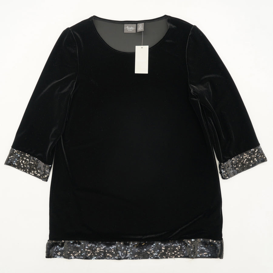 Velvet Blouse With Sequin Detail Size 0