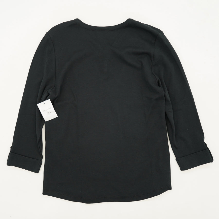 Basic Black Blouse With 3 Button Detail Size M