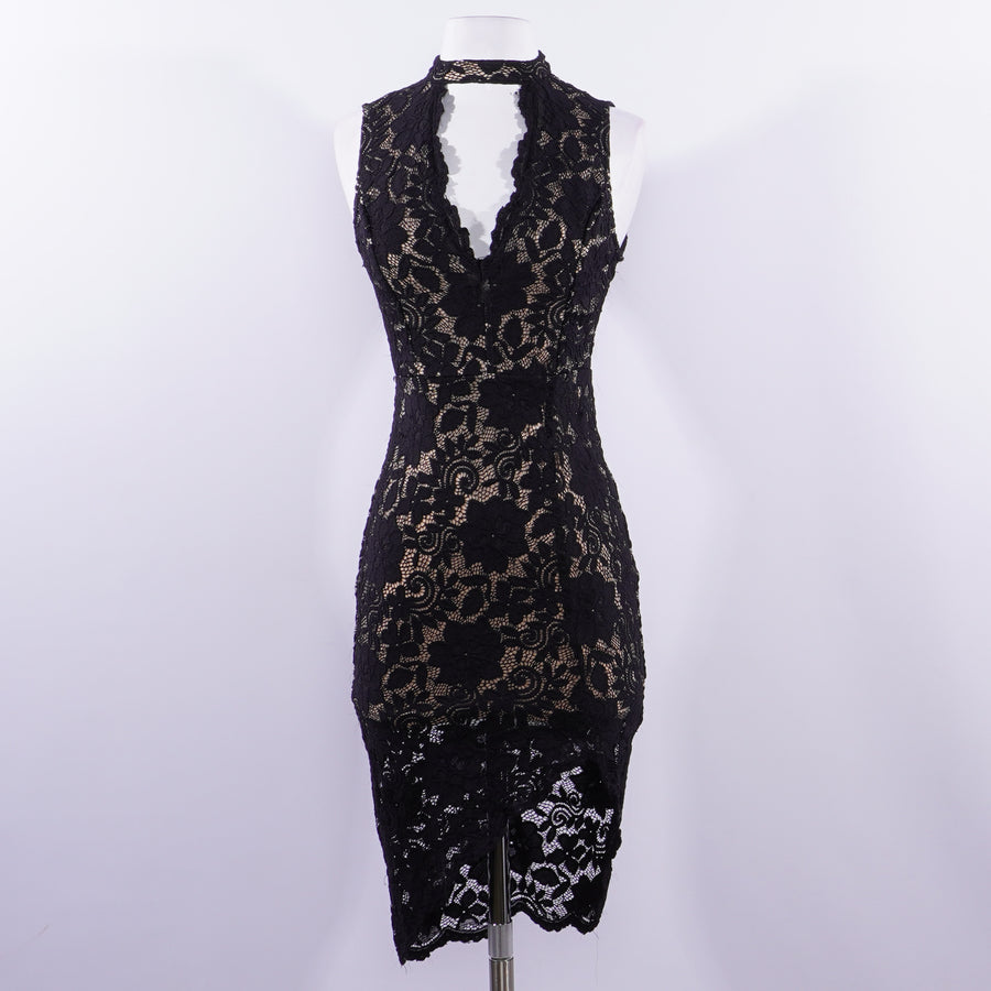 Lace Sleeveless Choker Dress - Size S