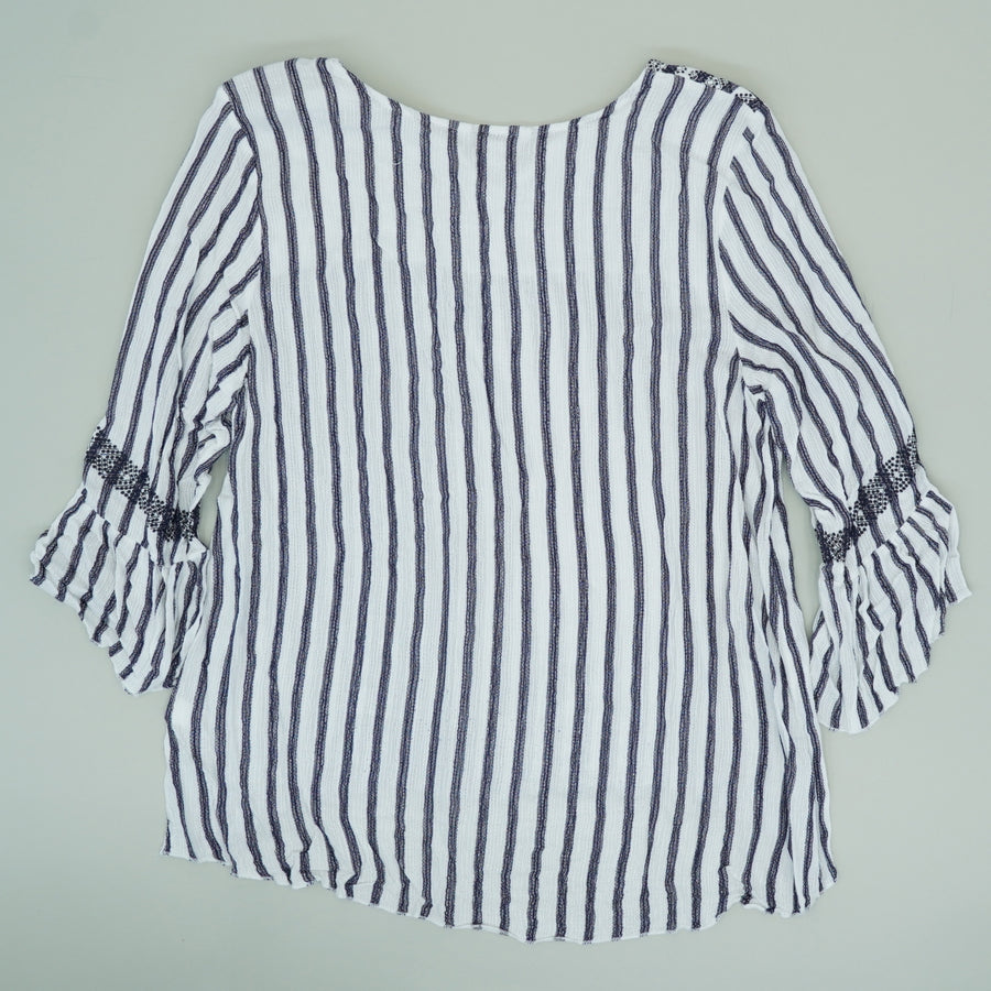 White And Navy Striped Blouse - Size XL, 1X