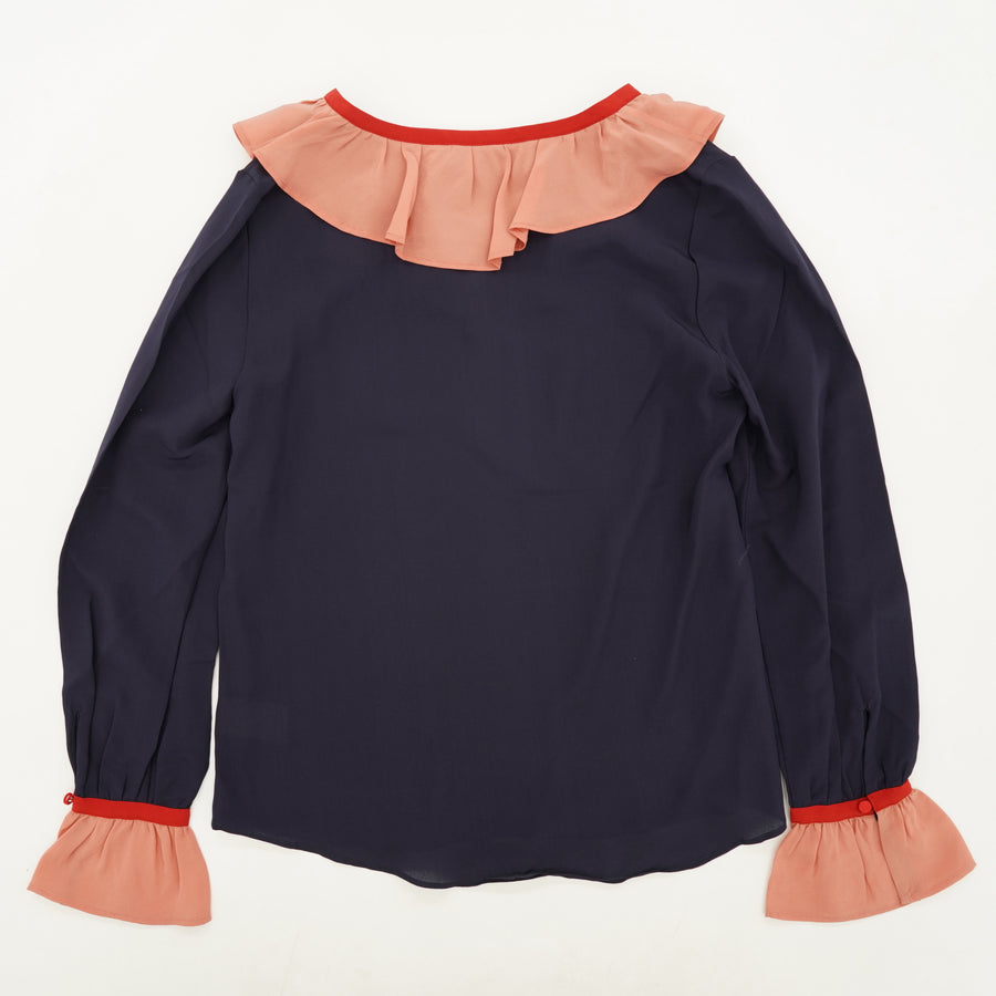Silk Navy And Pink Ruffle Blouse Size 2