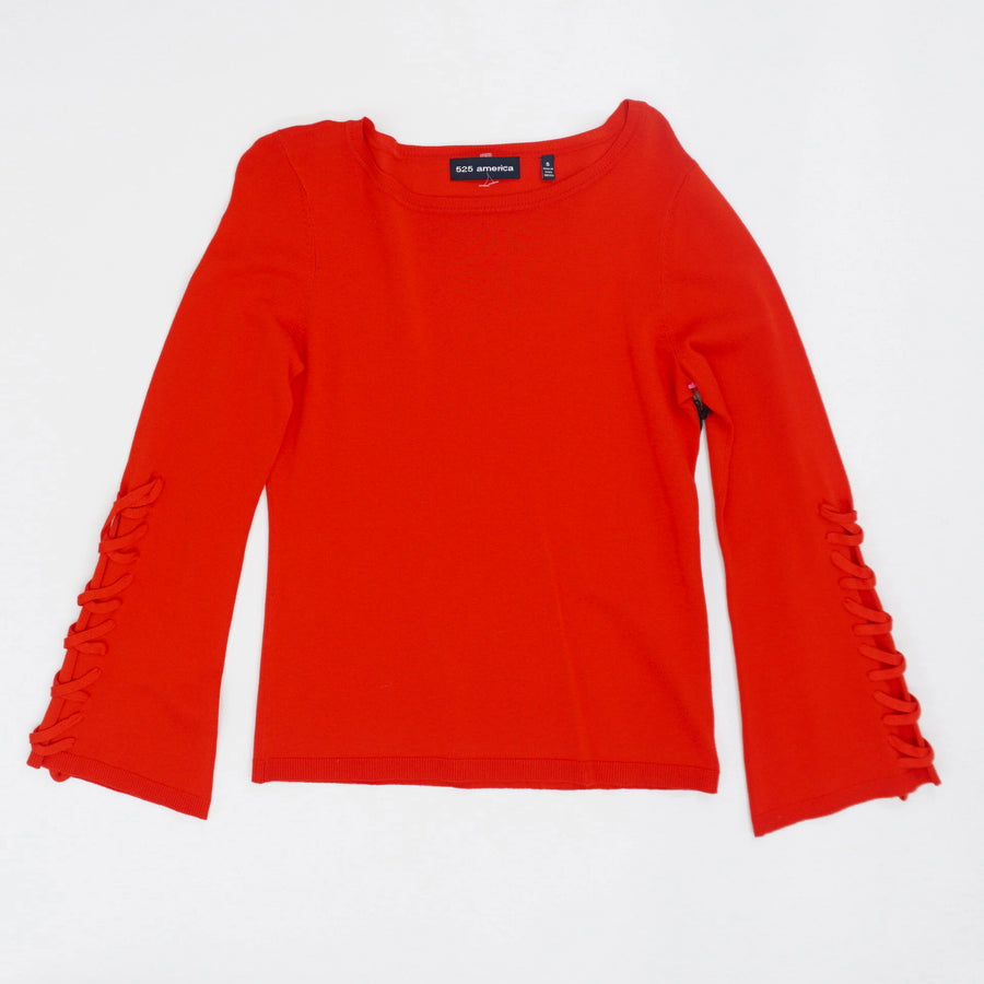 Lace-Up Sleeve Sweater - Size S