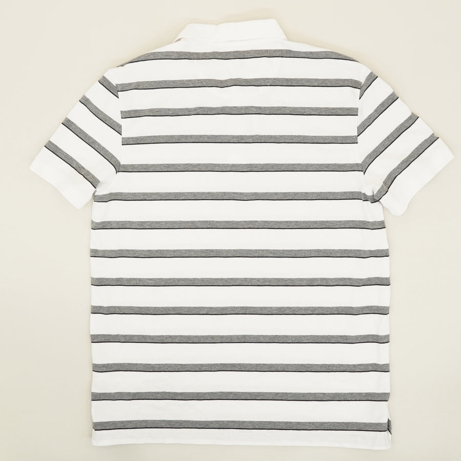 White Striped Liquid Touch Polo - Size M
