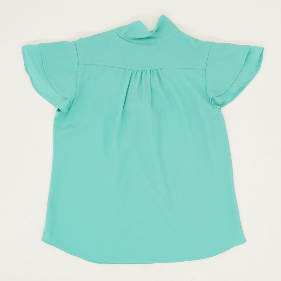Ruffle Sleeve Tie Neck Blouse - Size L, XL