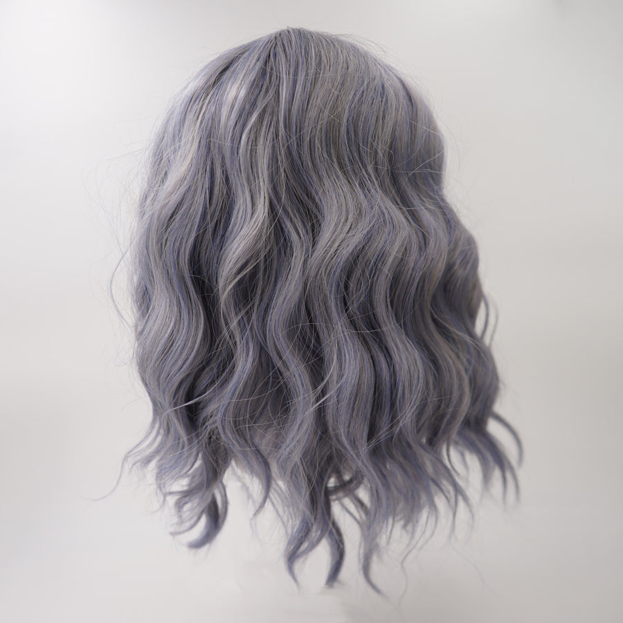 "12"" Blue & Gray Bob With Bangs"