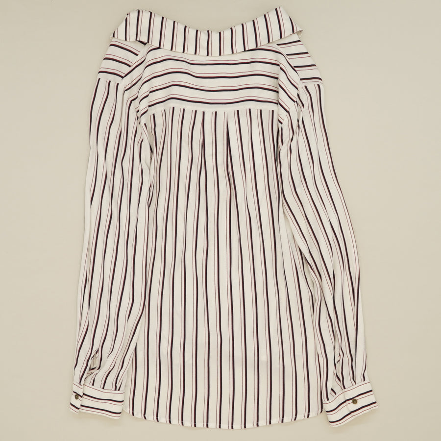 Lace-Up Front Striped Blouse Size S