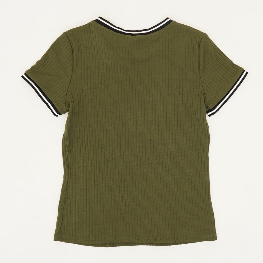 Green Ribbed T-Shirt - Size L