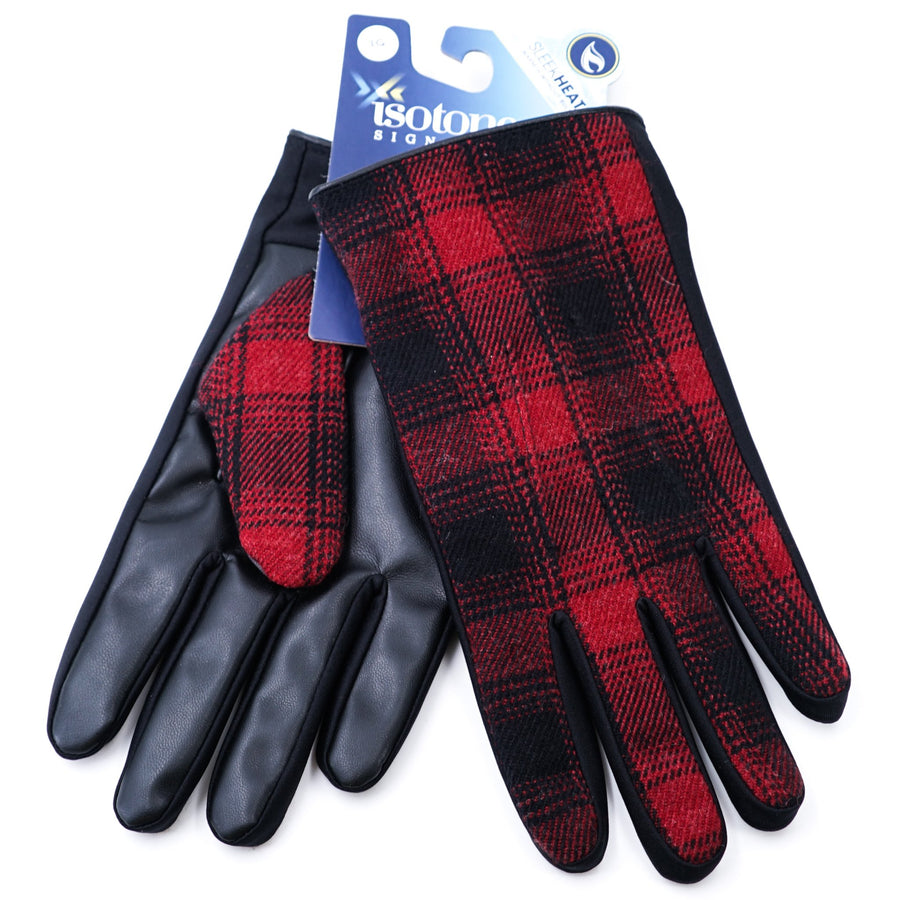 Isotoner Gloves Size Large Red & Black