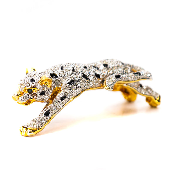 1980's Vintage Gold Plated Leopard Shoulder Brooch With Rhinestones