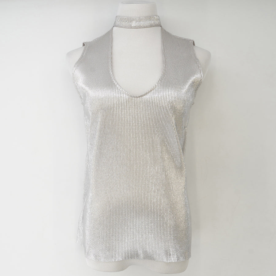 Bellows Metallic Top with Choker Neck