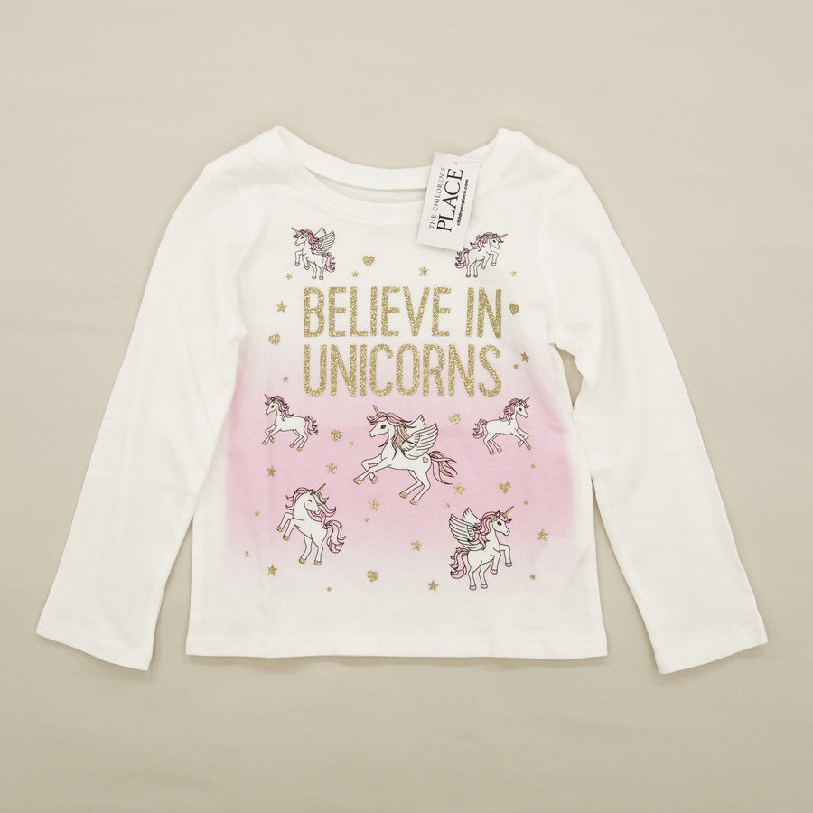 """Believe In Unicorns"" Graphic Long Sleeve Tee Size 2T"