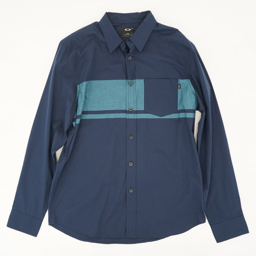 Blue Long Sleeve Collared Shirt With Front Pocket Size M