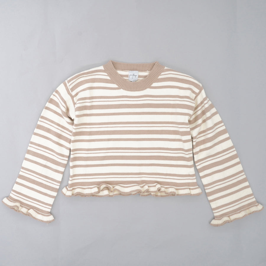 Ruffled Hem Striped Sweater Size XS/S