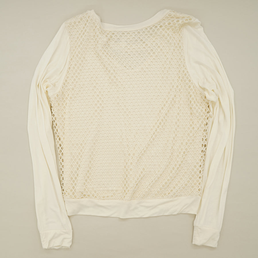 Ivory Fish Net Blouse Size M