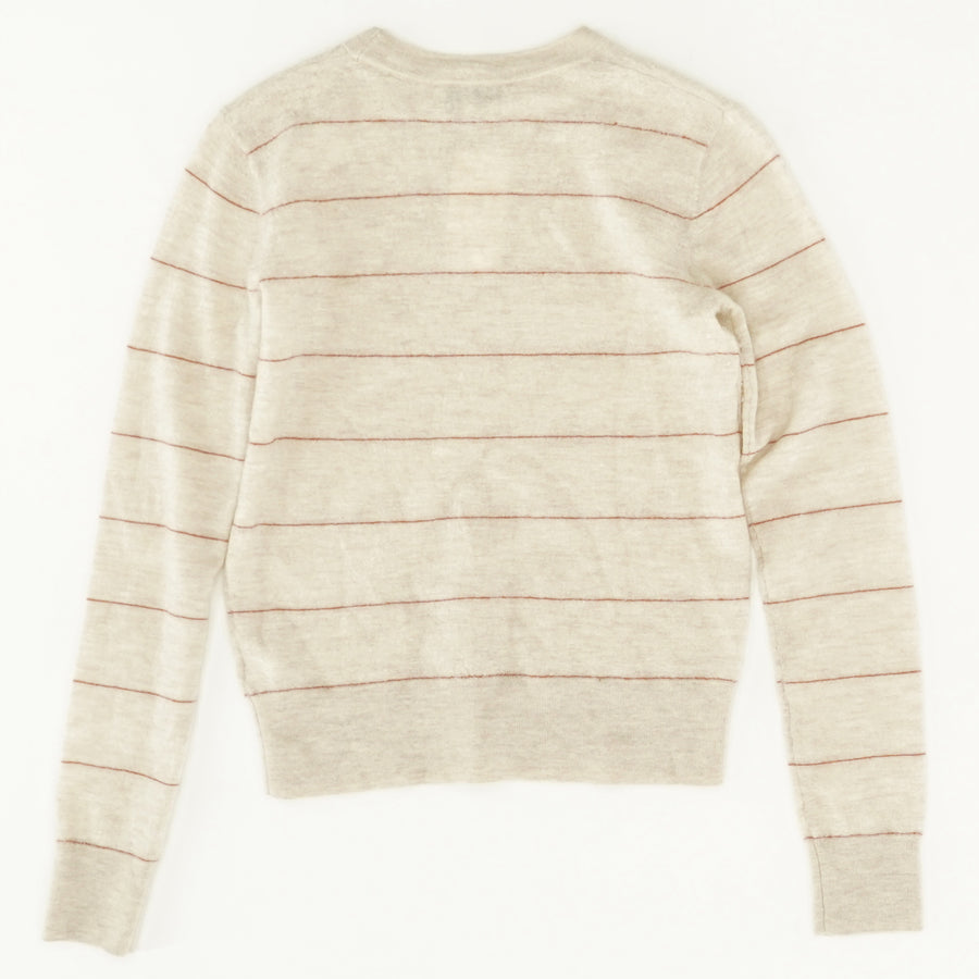 Striped Cashmere Fitted Crew Sweater - Size XS
