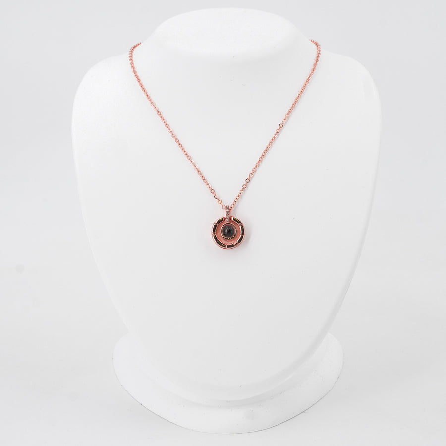Rose Gold Toned Pendant Necklace With Hidden Message