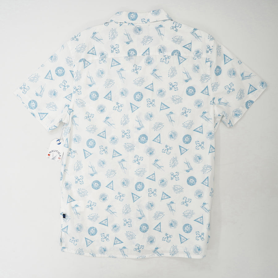 Nautical Printed Short Sleeve Button Down