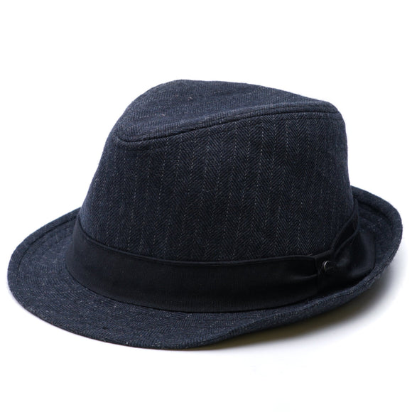 Wool-Blend Striped Fedora